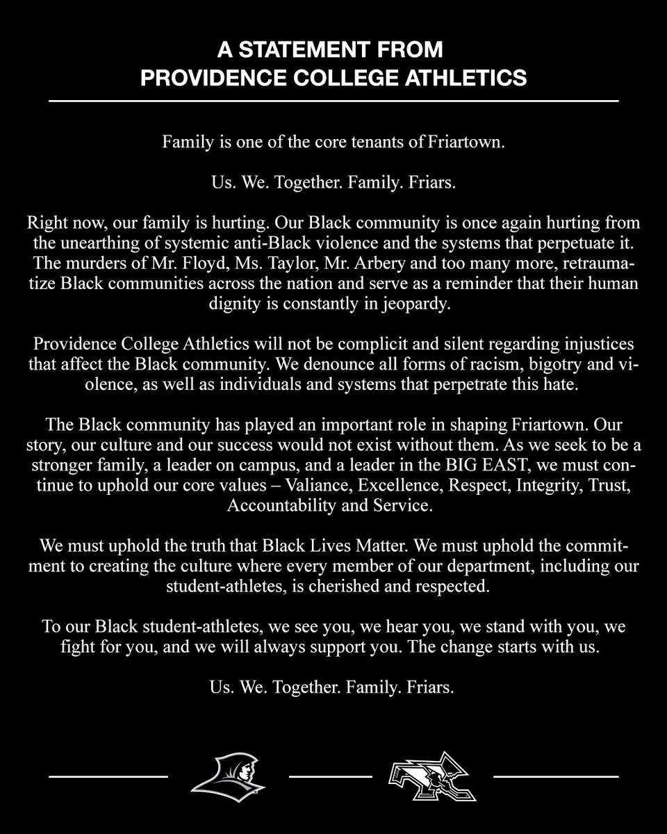 A Statement From Providence College Athletics #BlackLivesMatter friars.com/news/2020/6/3/…