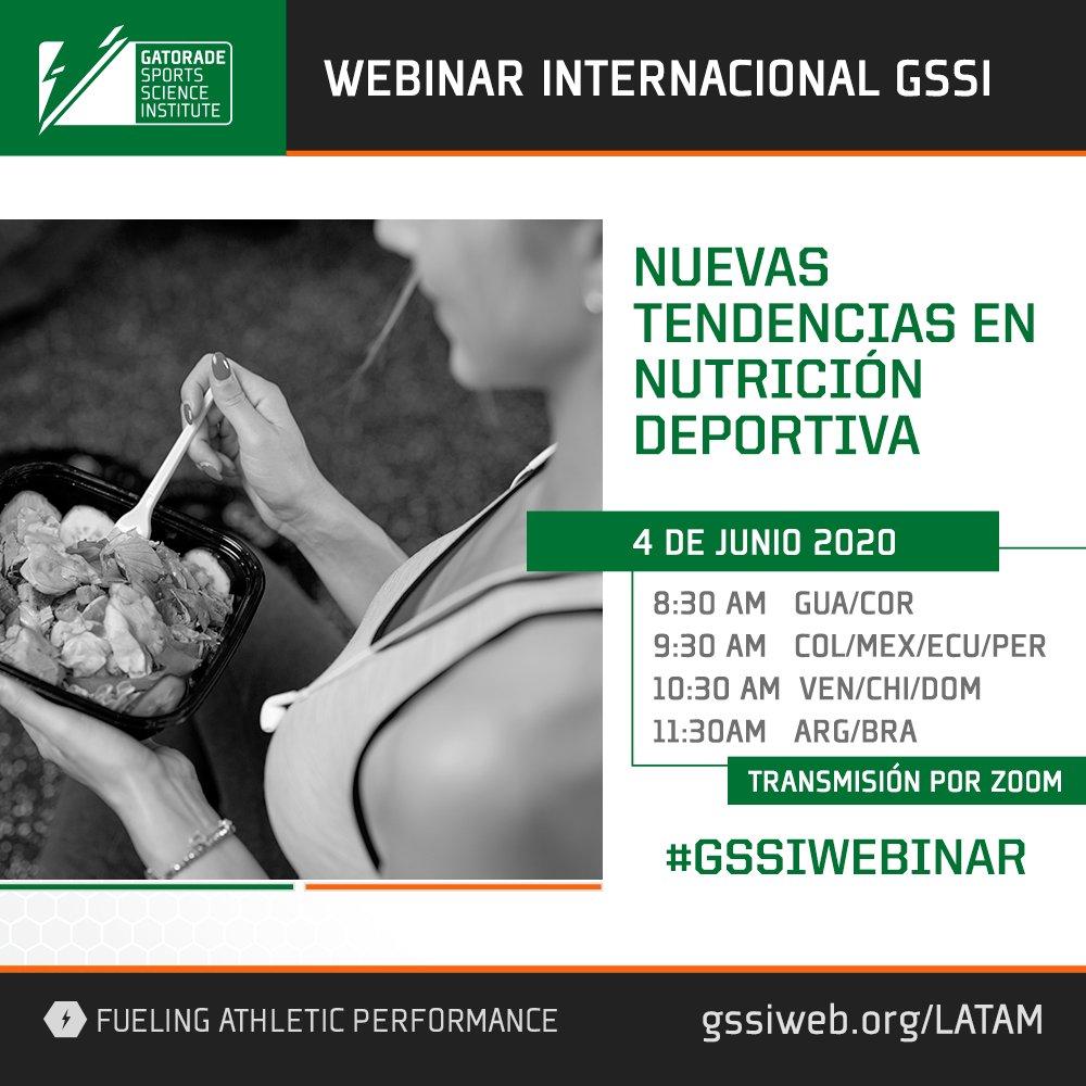 """Inscribite gratis al webinar de #GSSI """"Nuevas tendencias en nutrición deportiva"""".  #APRENDEENCASA de los expertos.   #CIENCIADEPORTIVA registrate gratis acá: https://t.co/xIKiM7Fdps https://t.co/JFZeJotfdF"""