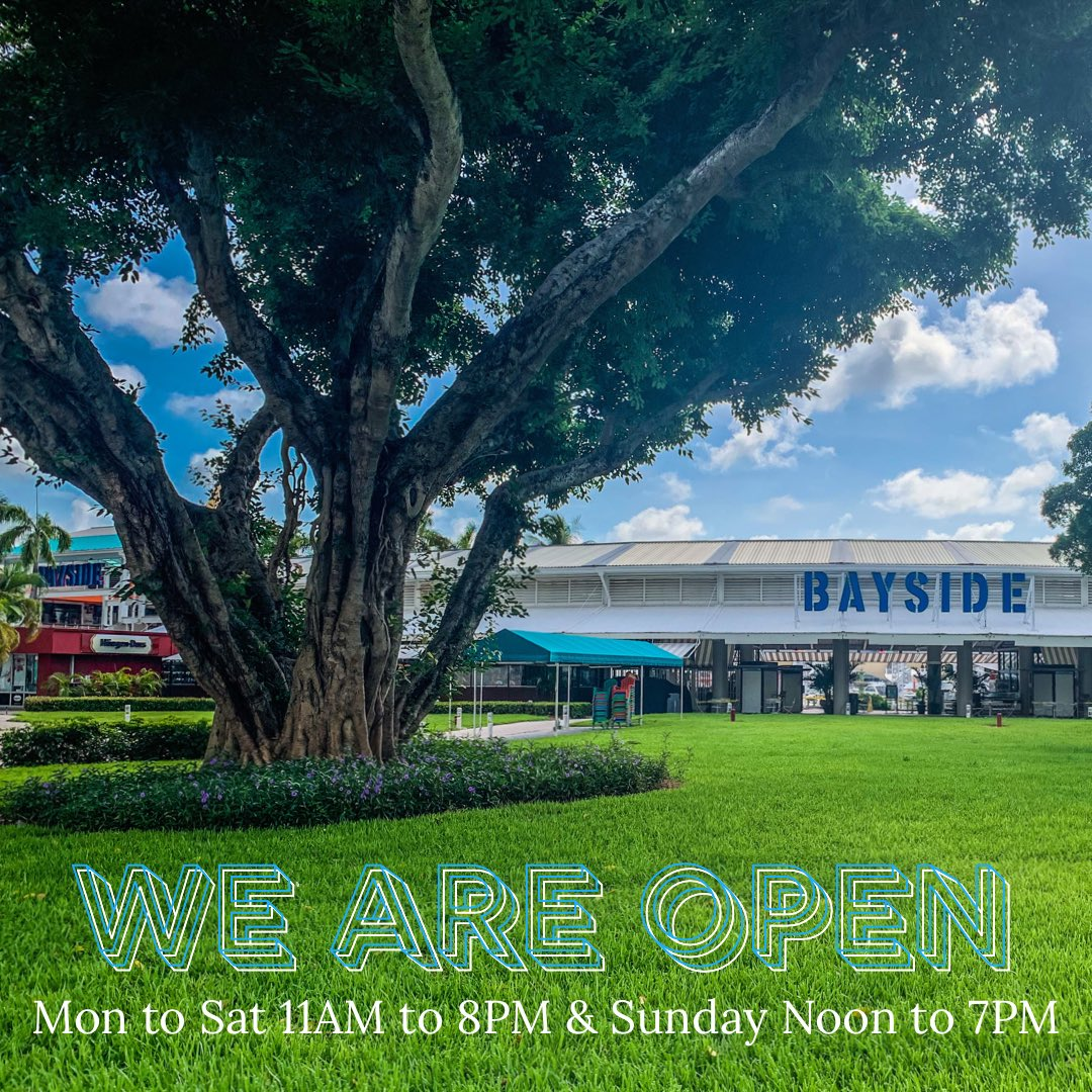 We are open, come out & experience the iconic Bayside Marketplace. Our retail stores & restaurants are open Mon to Sat 11AM to 8PM & Sun Noon to 7PM Customers & 3rd party pick up companies have 15min of permitted parking in our garage at no charge #downtownmiami #supportthelocalpic.twitter.com/JWhpU59joO – at Bayside Marketplace
