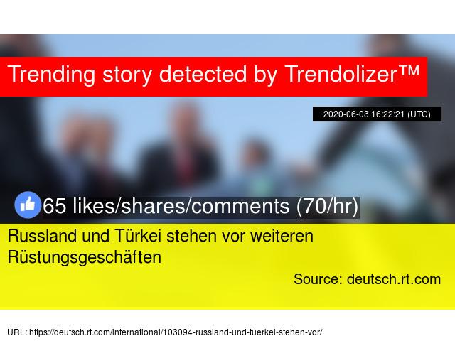 Russland und Türkei stehen vor weiteren Rüstungsgeschäften http://nato.trendolizer.com/2020/06/russland-und-turkei-stehen-vor-weiteren-rustungsgeschaften.html…pic.twitter.com/IGyQLThVGp  by Trending NATO News