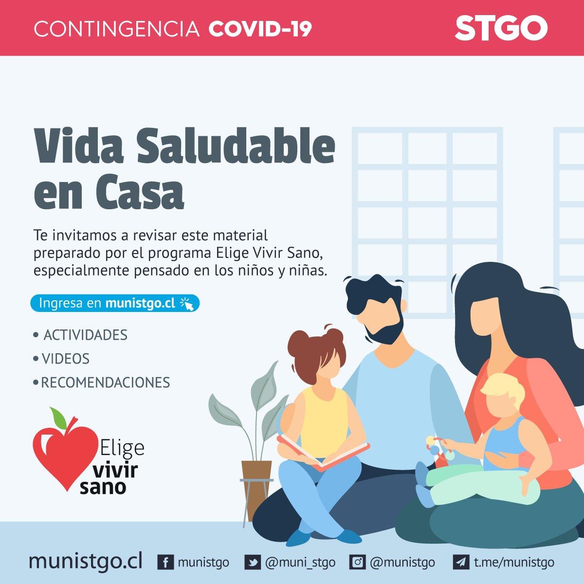 #Santiago: Te invitamos a revisar el material preparado por  @EligeVivirSano, especialmente pensado en los niños y niñas, en el marco de esta crisis sanitaria. Podrás ver recomendaciones, recetas, actividades y ejercicios para realizar en casa. http://www.munistgo.cl/vida-saludable-en-casa/…pic.twitter.com/JkNpxRbEOq
