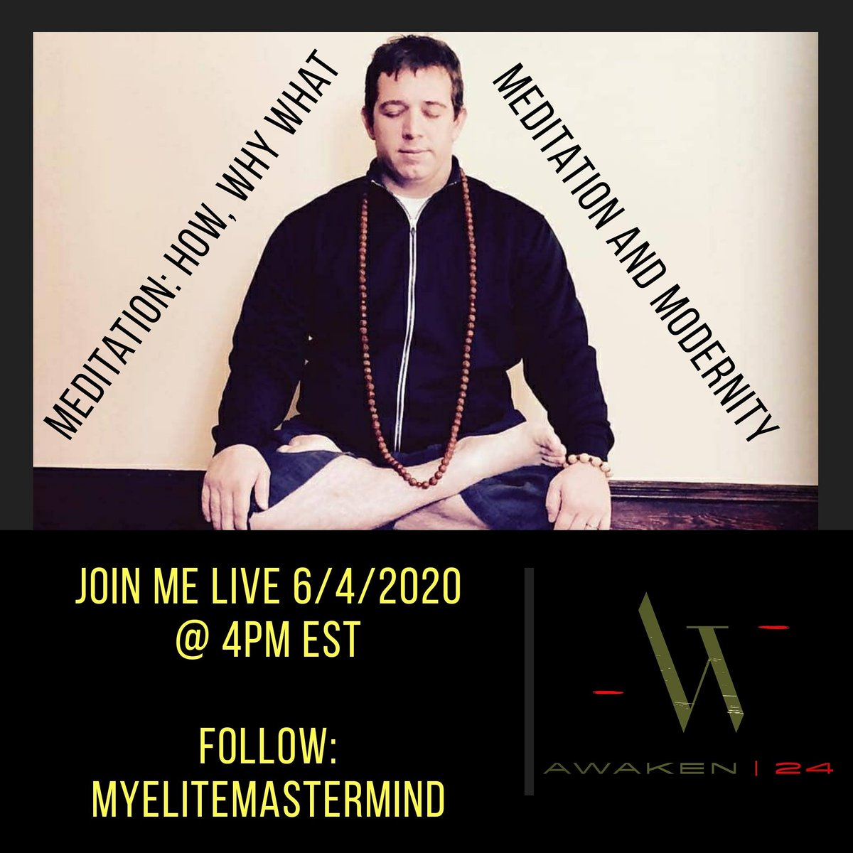 Join me on 6/4/2020 on @instagram for an amazing , in depth talk on #Meditation and Modernity on @MyEliteMastermind. My #Elite #Mastermind is an amazing source of #growth minded content that is gauranteed to bring you #value in both #business and #personal life.pic.twitter.com/z5E9WIZU13