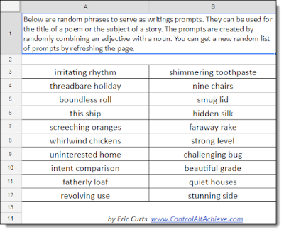 A3: The random feature in Sheets can be used to generate random writing prompts! https://t.co/xatHqkqjOh #CVTechTalk #ControlAltAchieve https://t.co/OCnnxYc354