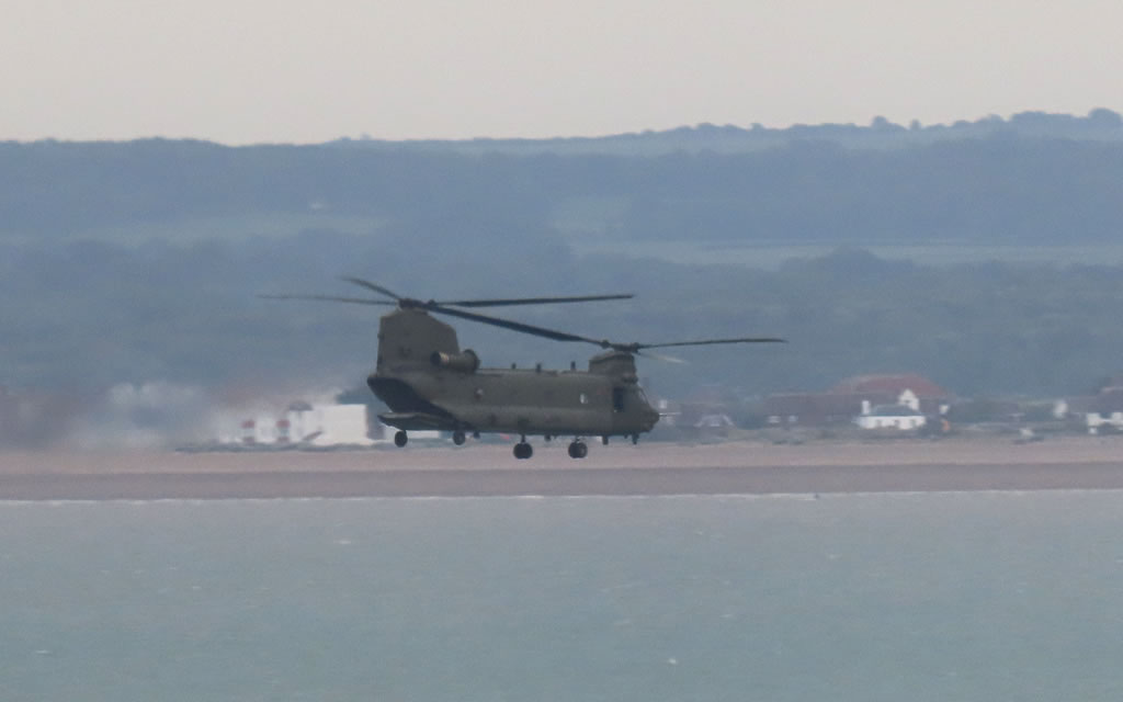 Chinook just flown past #Ramsgate heading out over #Pegwell Bay.