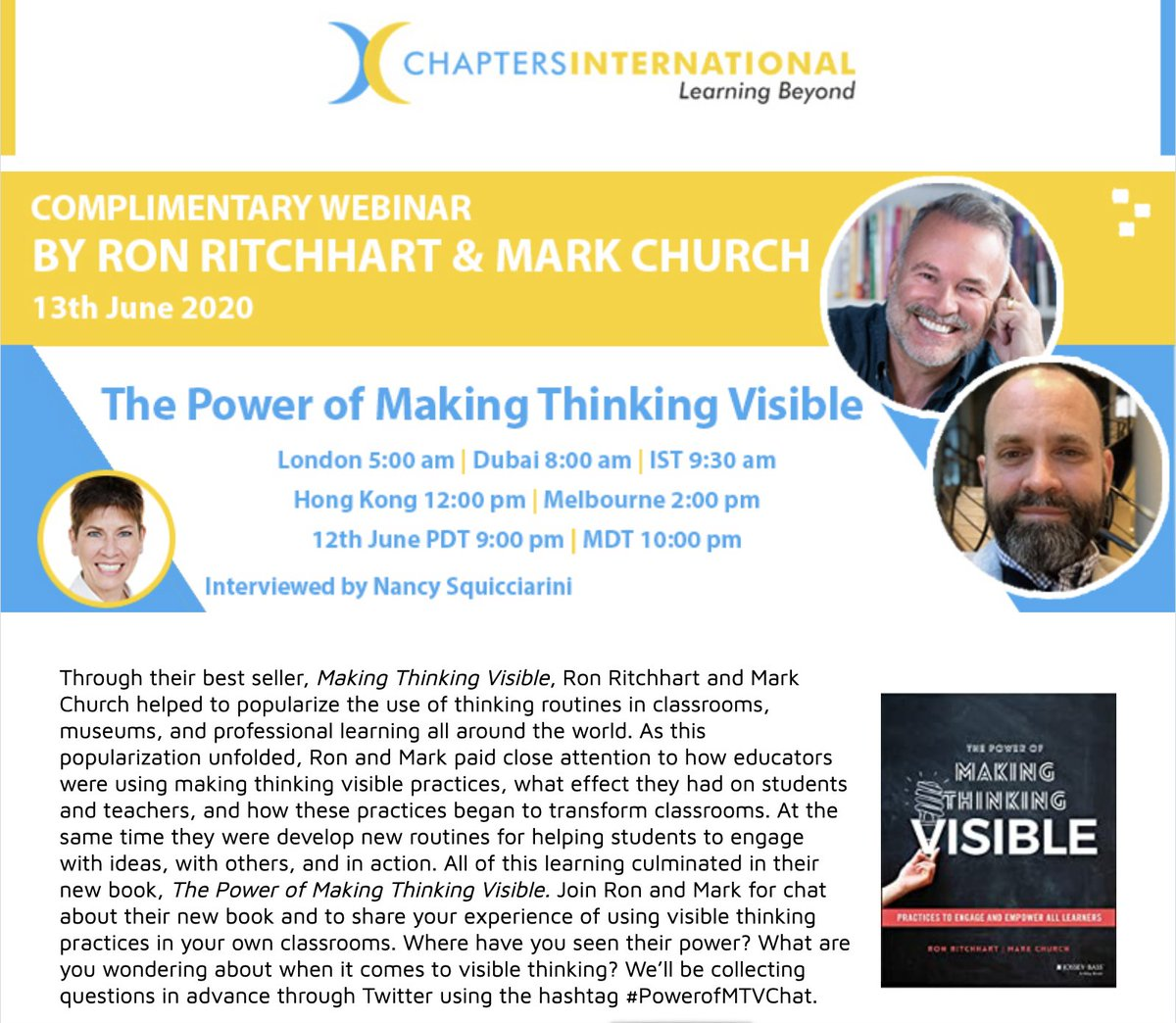 Upcoming (no-cost) webinar chat about our new book, The Power of Making Thinking Visible.  Submit your questions to #PowerofMTVChat. More info at https://t.co/7gllD1IhW4.  We'll also be doing another web chat for NA time zones. Date announced soon. Same #. Submit your questions! https://t.co/Lqcyxv4MTR