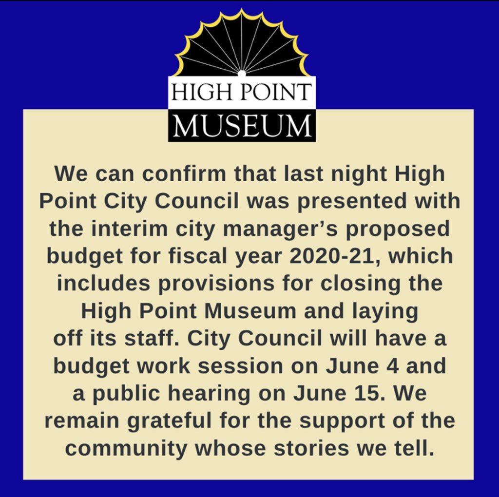 The @HighPointMuseum needs our help! Write to High Point City Council members to tell them how valuable a city's historical museum is to its community. Show your support for this long-time SEMC member https://t.co/t7aS1X2d6N. https://t.co/sMOqtL3l9z