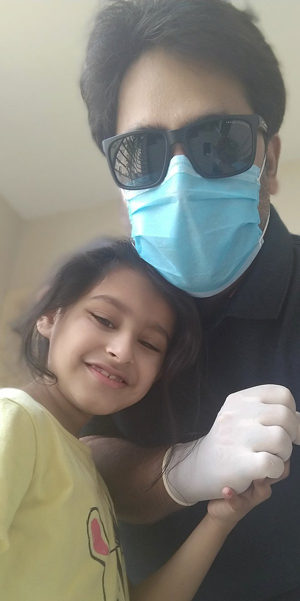 Day 64 of my #officialduty.. Before I leave for work, my daughter gives me a hug.. #CoronaWarriors #FatherDaughterDuo