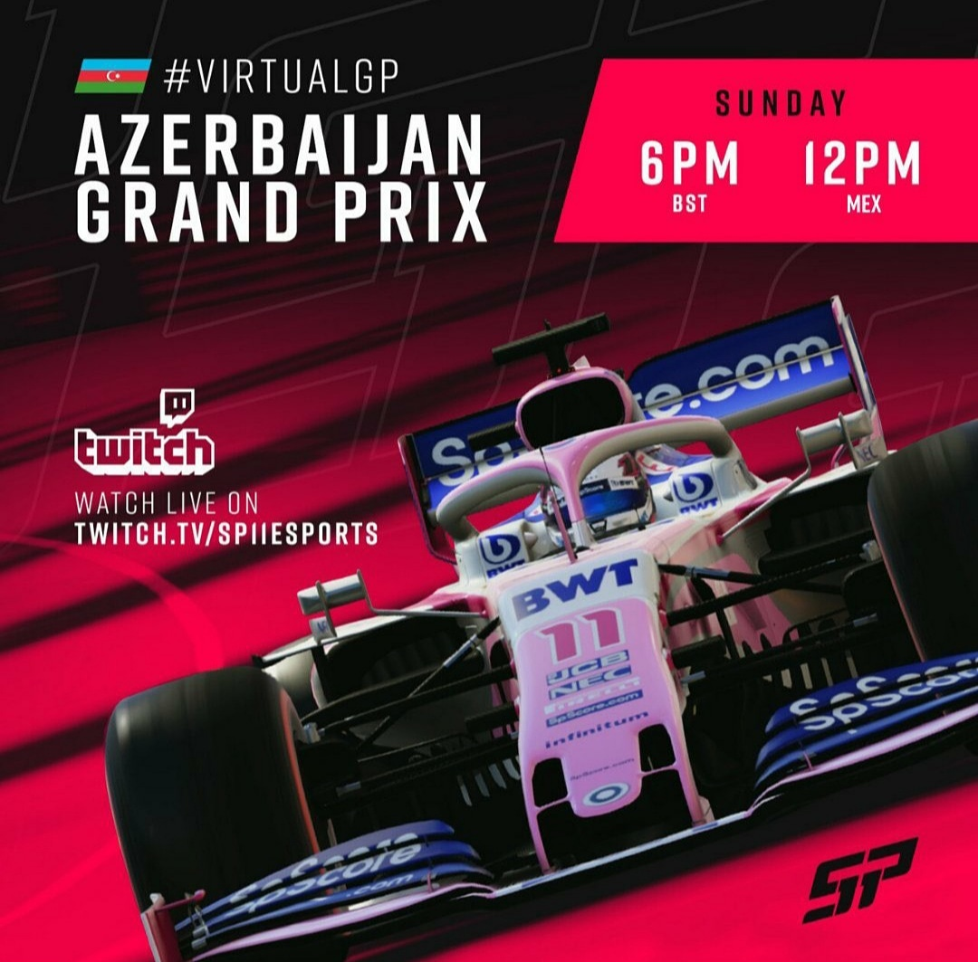 Checo Pérez debutara en carreras virtuales con el Azerbaiján Grand Prix #virtualgp #f1esports #virtualrace #games #raceathome #esport #rfactor2 #simracer #iracing #egames #videojuego #iracing #watchlive #Streaming #f1esports #Twitch https://t.co/E4x364ShPQ