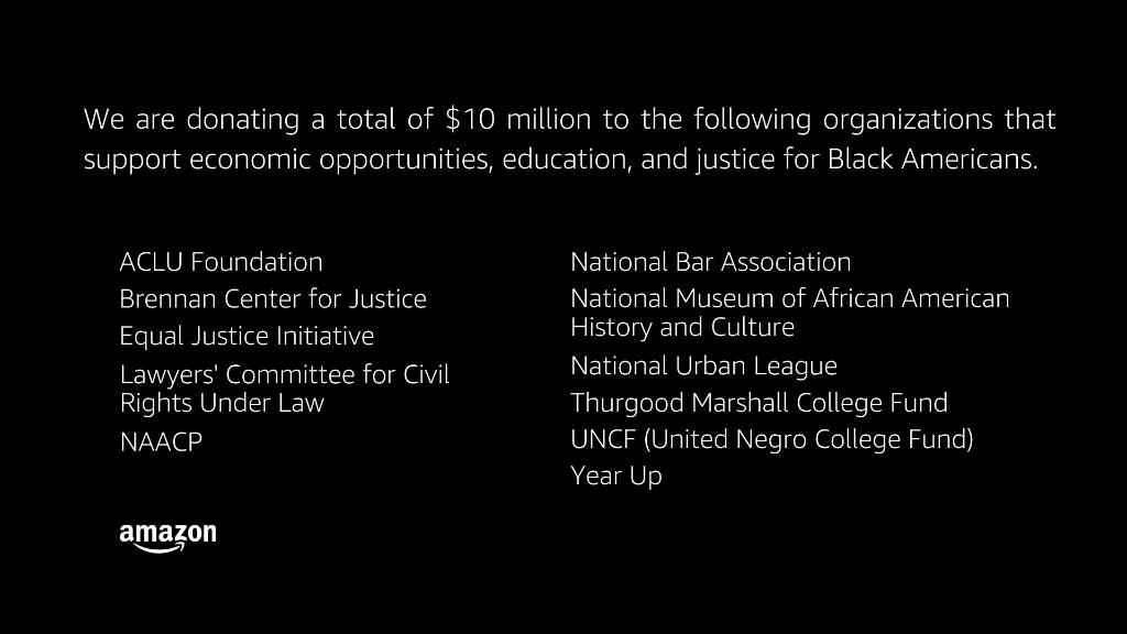 Amazon Black Lives Matter pledge
