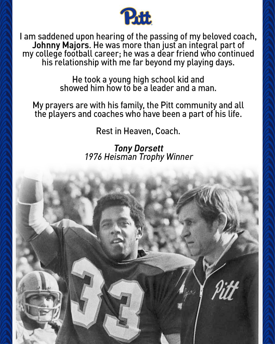 Rest in Heaven, Coach. A statement from Tony Dorsett on the passing of Coach Majors.