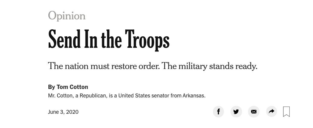 THREAD: As a former @nytimes Op-Ed editor I am reluctant to weigh in on my alma mater. But the decision to publish @SenTomCotton calling for troop deployments to quell unrest falls short of sound journalistic practice. https://t.co/SgXSndkq8l