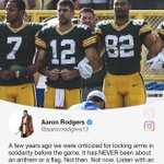 Image for the Tweet beginning: Aaron Rodgers' stance: