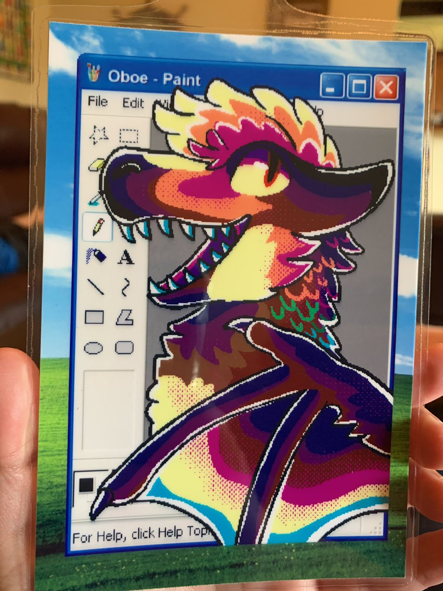 @TheRoguez drew this FANTASTIC old style MS Paint badge for me. ;; I'm so happy with the quality of the print and also the method in which my sona's colors were translated!