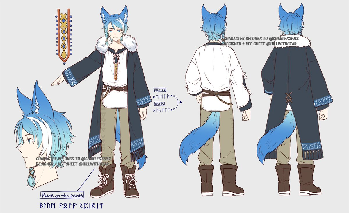 Hi everyone! I am Einar Lyall, but you can also call me Charles, a English Vstreamer Norse Wolf Fylgja (animal spirit)  You can find my irl twitter over at @charles2532  My current twitch goes by the same name!  Here is my character reference sheet, designed by @hillwithstar!!