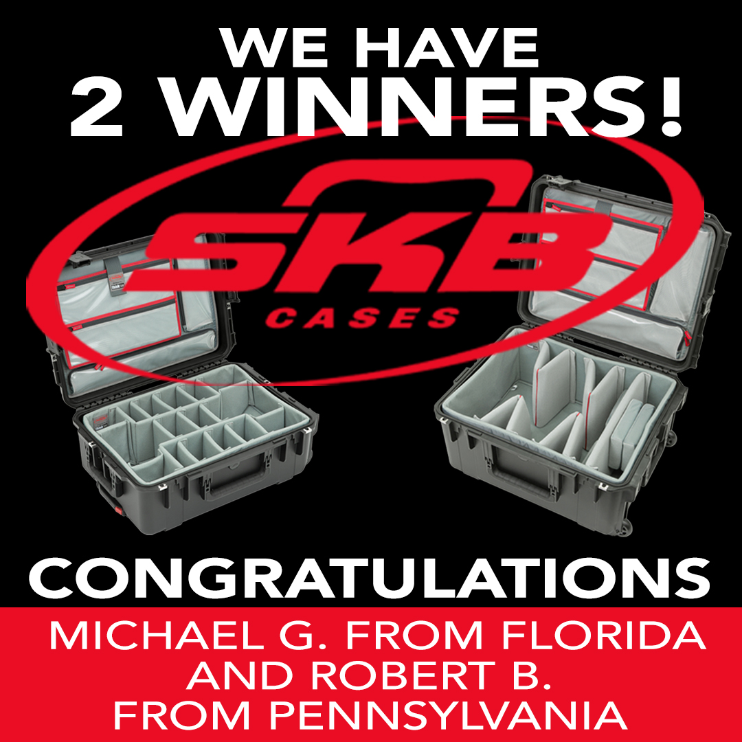 We have 2 winners! Congratulations to Michael G. from Florida and Robert B. from Pennsylvania for winning the SKB Photo Cases - SKB iSeries 2215-8DL. @brantphotog @skbcases #giveaway #photography #video #contest #winner #photocase #videocase #keeponclickin