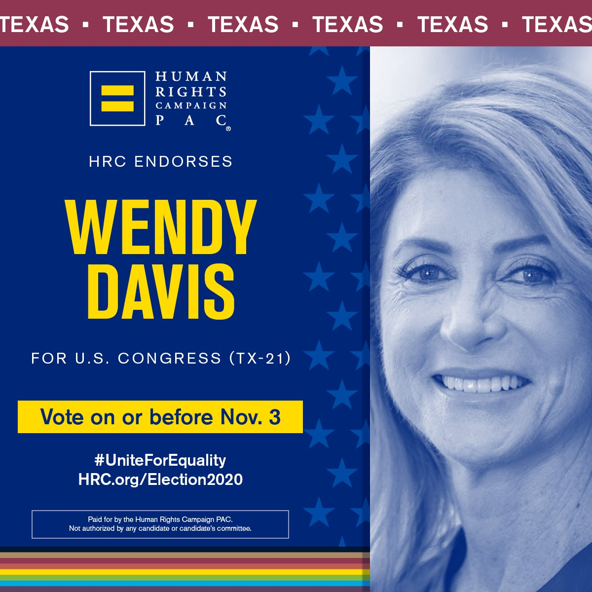 """Im thrilled to be endorsed by the Human Rights Campaign, TX chapter. The phrase """"we the people"""" in the constitution refers to ALL of us. That's why in Congress Ill be a champion for human & civil rights, including using my voice to protect & empower the LGBTQIA community. #TX21"""