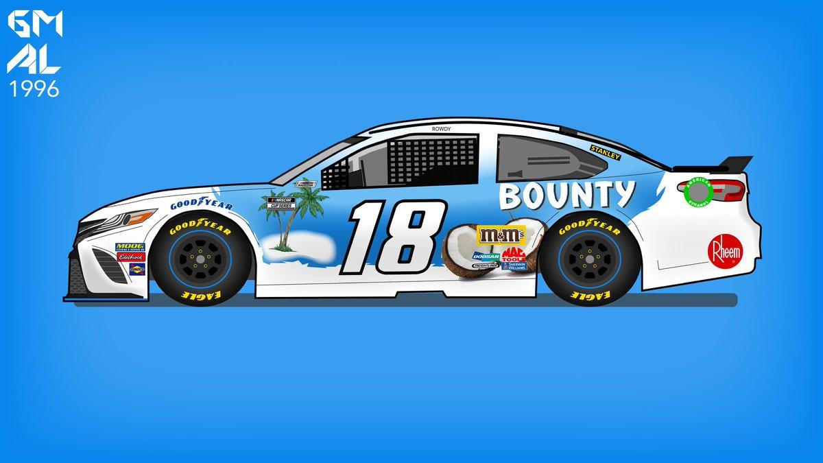 Next on the Candy Kyle Busch cars, one of my personal favorites, Bounty   #nascar #motorsport #graphic #graphicdesign #motorsportdesign #digitalmedia #photoshop #vector #car #carporn #Toyota #Camry #art pic.twitter.com/6Pr4uOGM0U
