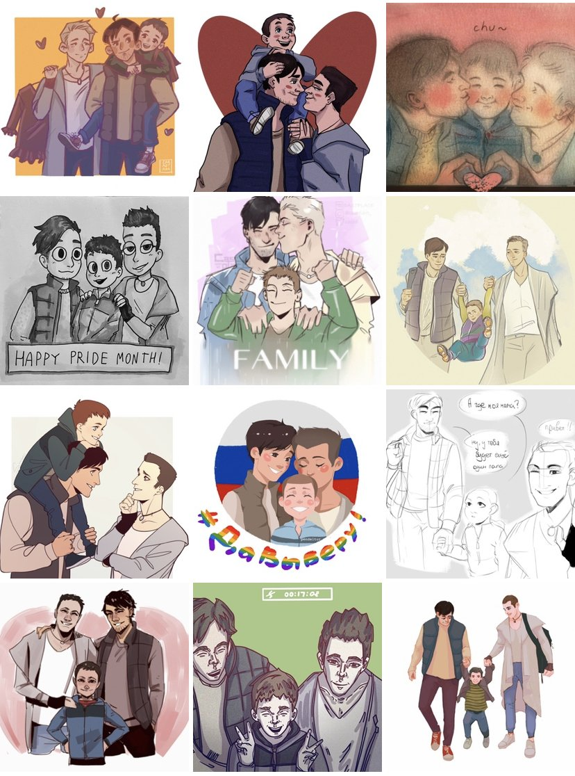 Russian government: advertises constitution amendments with anti-LGBT ad where a child gets adopted by a gay couple that was represented in bad stereotypical way Russian twt: turns it in a positive way with amazing fanarts #ДаВыберу #PRIDE2020 https://t.co/4unwsiFxhr