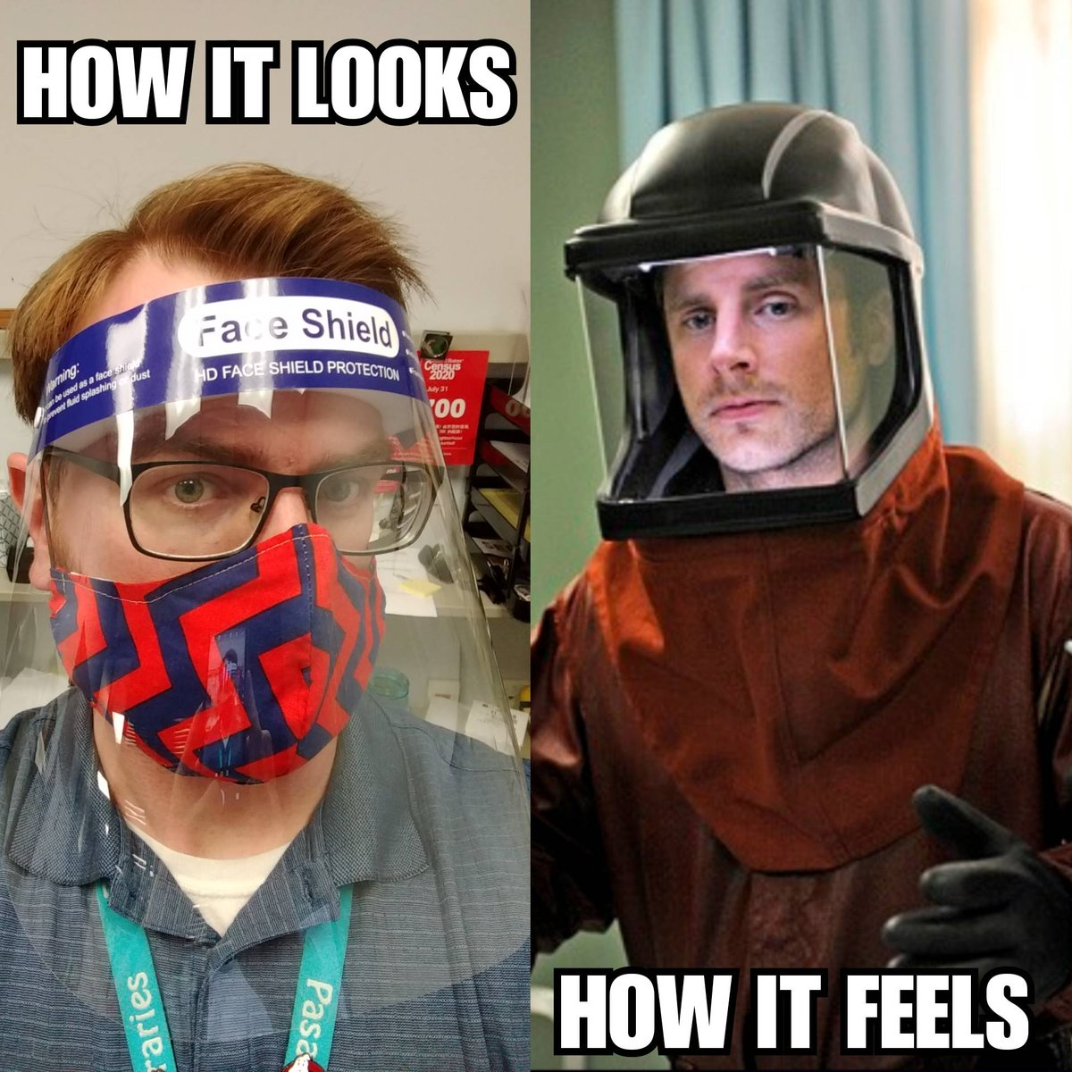 Got our PPE this week, channeling my circa 2010 Shawn Spencer with @JamesRoday #libraries #work #psych