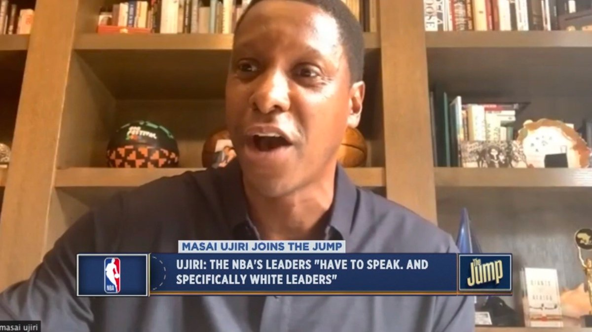 Powerful words from Raptors president Masai Ujiri on #TheJump, saying the NBAs teams and leaders have to speak. And specifically white leaders. They have to speak...Lets come and talk, lets not hide anymore.