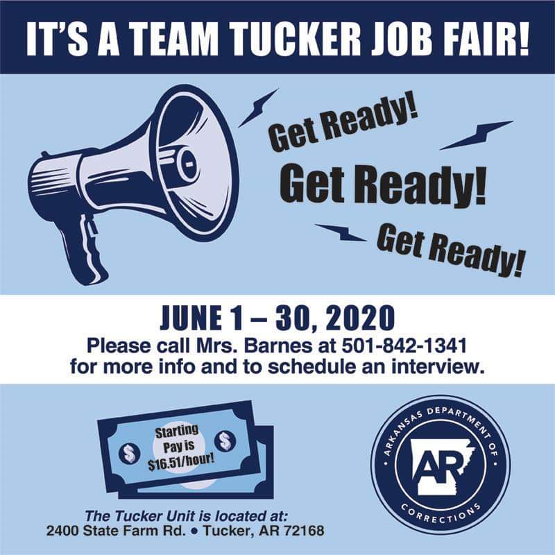 The Tucker Unit is hosting a JOB FAIR throughout the month of June!!! Call 501-842-1341 for details and to schedule an appointment. Get the ball rolling on a great career today! https://t.co/030bGVd0lO