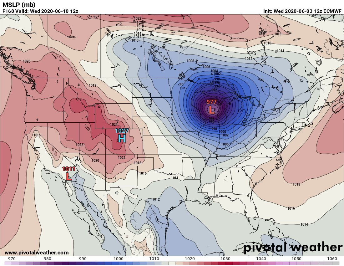 Wow! The 12Z TUE European Model morphs the remnants of #Cristobal into quite the cyclone next week across the Midwest. Could we see another perfect storm as it runs into a hot atmosphere lying across the U.S.? Stay tuned to guyonclimate.com for details and updates.