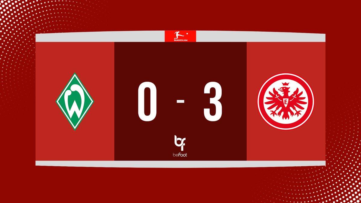 ⏱ TERMINÉ ! WERDER 🟢 0-3 🔴 FRANCFORT LEintracht simpose dans ce match en retard et remonte à la 11 ème place. Le Werder manque loccasion de sortir de la zone de relégation. #Bundesliga | #SVWSGE
