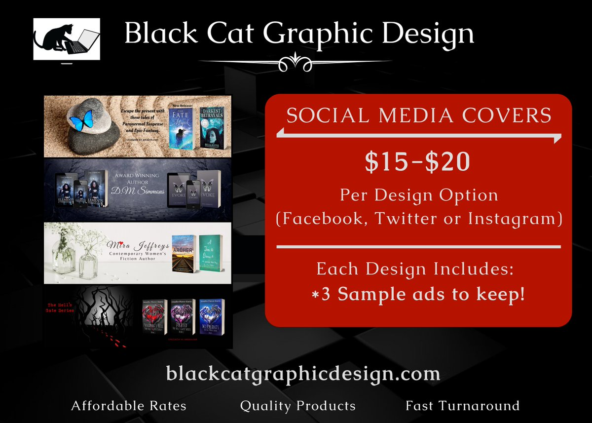 Looking for quality ads/social media banners? Check out the services of Black Cat Graphics!  #GraphicDesign #bookpromotions #socialmediamarketing <br>http://pic.twitter.com/bqToknqD9V