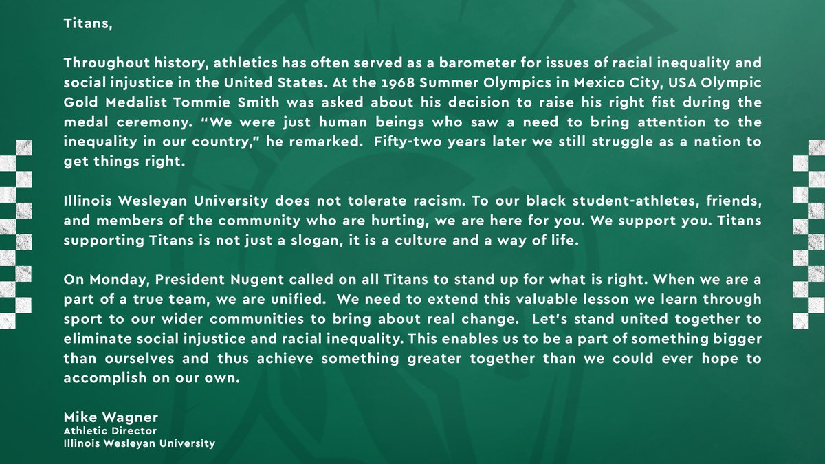 A letter from Athletic Director Mike Wagner to our Titan family: 🗒️ bit.ly/2XW14c9
