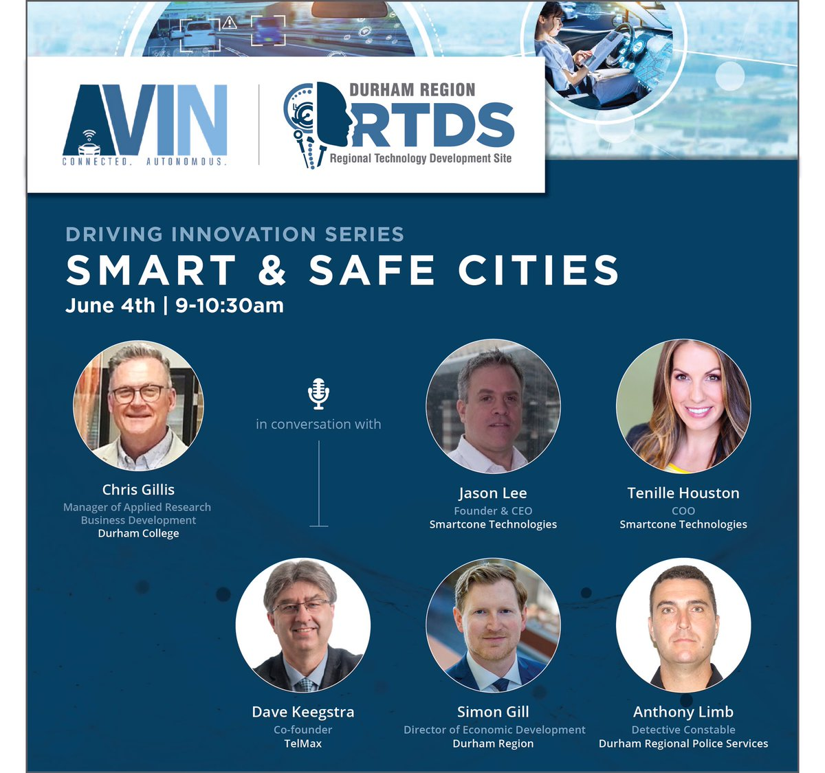 "Tomorrow is Durham RTDS' Driving Innovation Series ""Smart & Safe Cities"". You don't want to miss this discussion about how #technology in the EV & C/AV sectors can contribute to the #future of our cities! Register for free https://durhamrtds.ca/smartandsafecities/ … #AutonomousVehicles #smartcitiespic.twitter.com/7OV4Hc2Yhz"