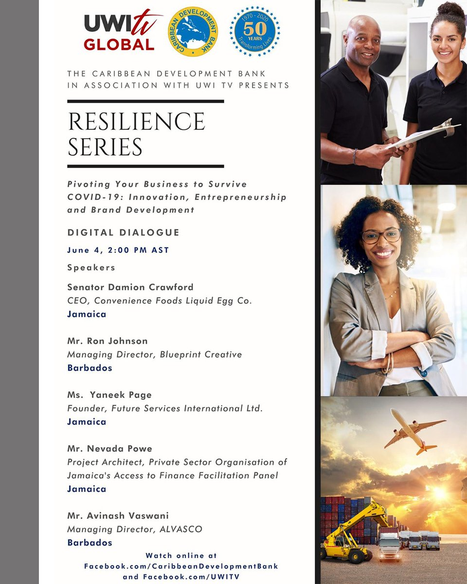 Tune in to #UWITV for the Resilience Series: Pivoting Your Business to Survive COVID-19: Innovation, Entrepreneurship and Brand Development on Thursday, June 4, 2020 at 1:00 p.m. (JA Time) | 2:00 p.m. (EC Time), presented by the Caribbean Development Bank and #UWITVpic.twitter.com/OmgxHhMDdF