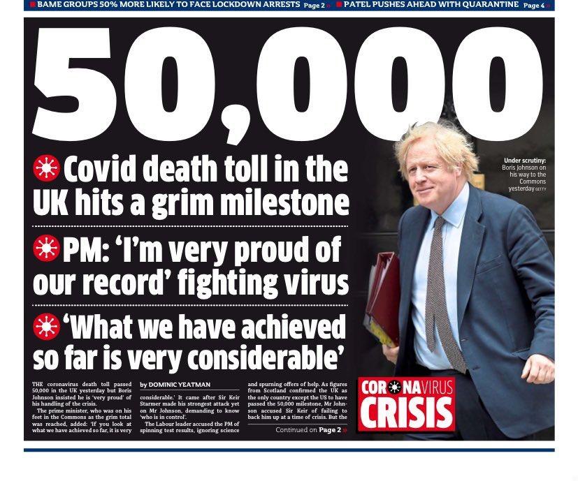 50,000 deaths. Boris Johnson: 'I'm very proud'......