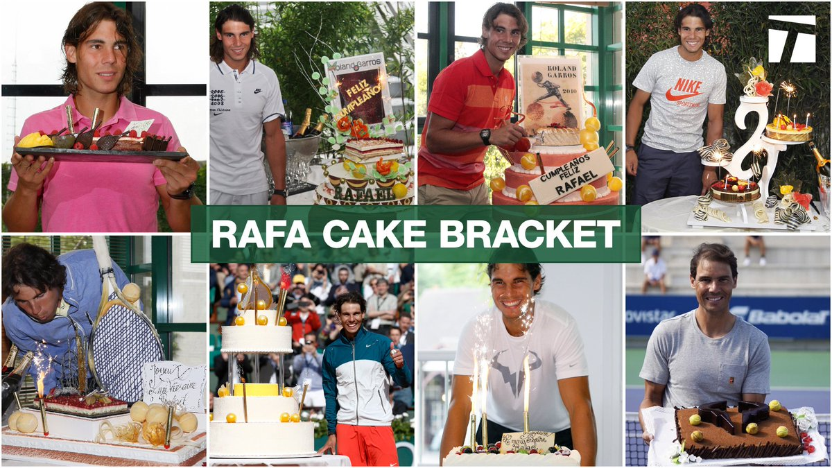 In honor of @RafaelNadal's birthday, we're looking back at some of the best cakes he's ever received.  🎂 THE CAKE BRACKET 🎂 #RafaCakeBracket https://t.co/fF854lEkFg