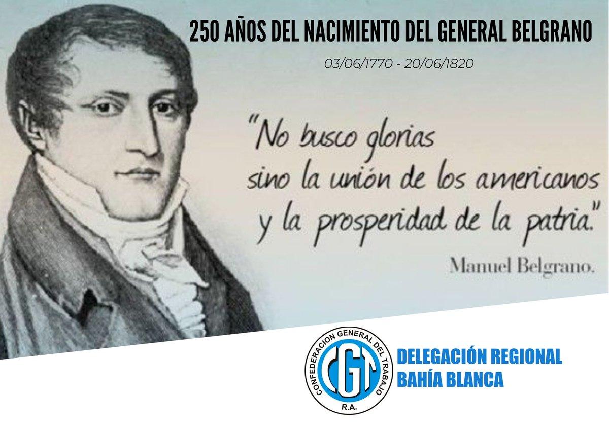 Hoy cumpliría 250 años el General Manuel Belgrano. Fue abogado, economista, periodista, político, diplomático, militar y creador de nuestra bandera. #SoberaníayLibertad #ManuelBelgrano https://t.co/M4mdCCIuvM