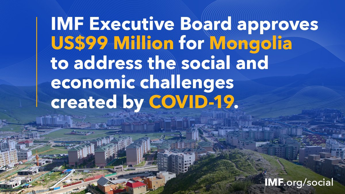 #Mongolia's quick actions to contain the outbreak of #COVID19 helped save lives. The IMF's emergency financing of US$99 million approved today will further those efforts and also help to bolster the economy. https://t.co/eNcLDDA8tL https://t.co/atHrdEsmvr