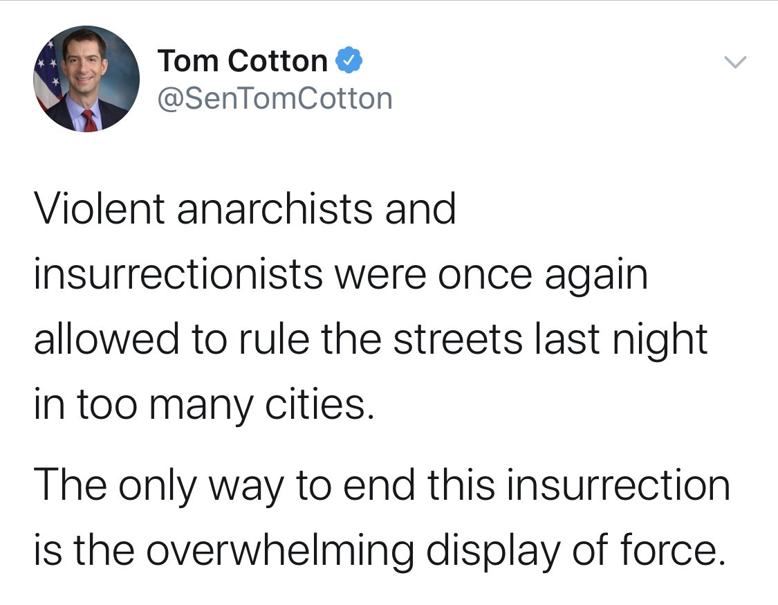 Someone could ask Senator Cotton to explain this, maybe.