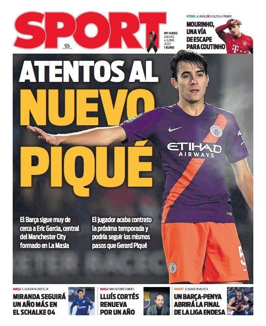 "『SPORT』 ""Atentos al nuevo Piqué"" 「新しいピケに注視」 #PortadaSport https://t.co/z1L4wXMtIf"