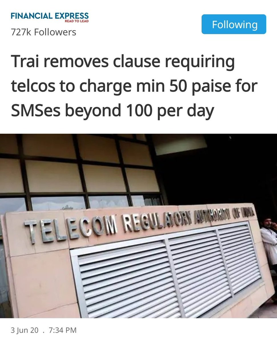 Do people still use SMS? @TRAI they all already have more than required internet, i don't think this will make a difference. #ThursdayThoughts<br>http://pic.twitter.com/KGfTgU06pq