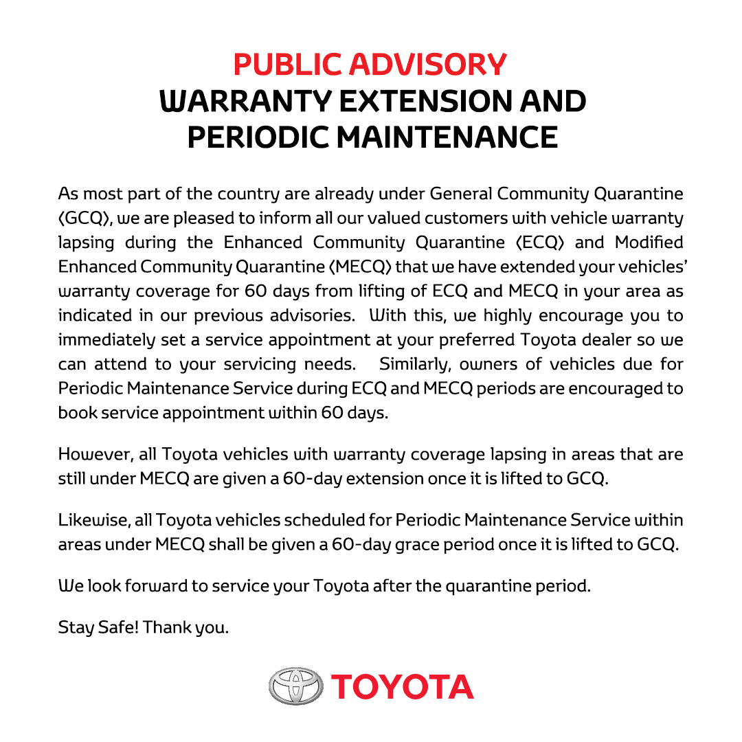 In view of the General Community Quarantine and Modified Enhanced Community Quarantine, please be guided with the following announcements for Toyota Insure policyholders, and Warranty & Periodic Maintenance. Thank you! https://t.co/nxMMPSlcq8