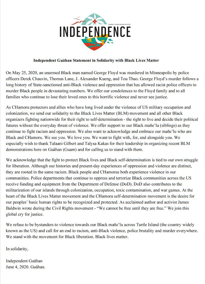 Independent Guåhan's statement of solidarity with Black Lives Matter