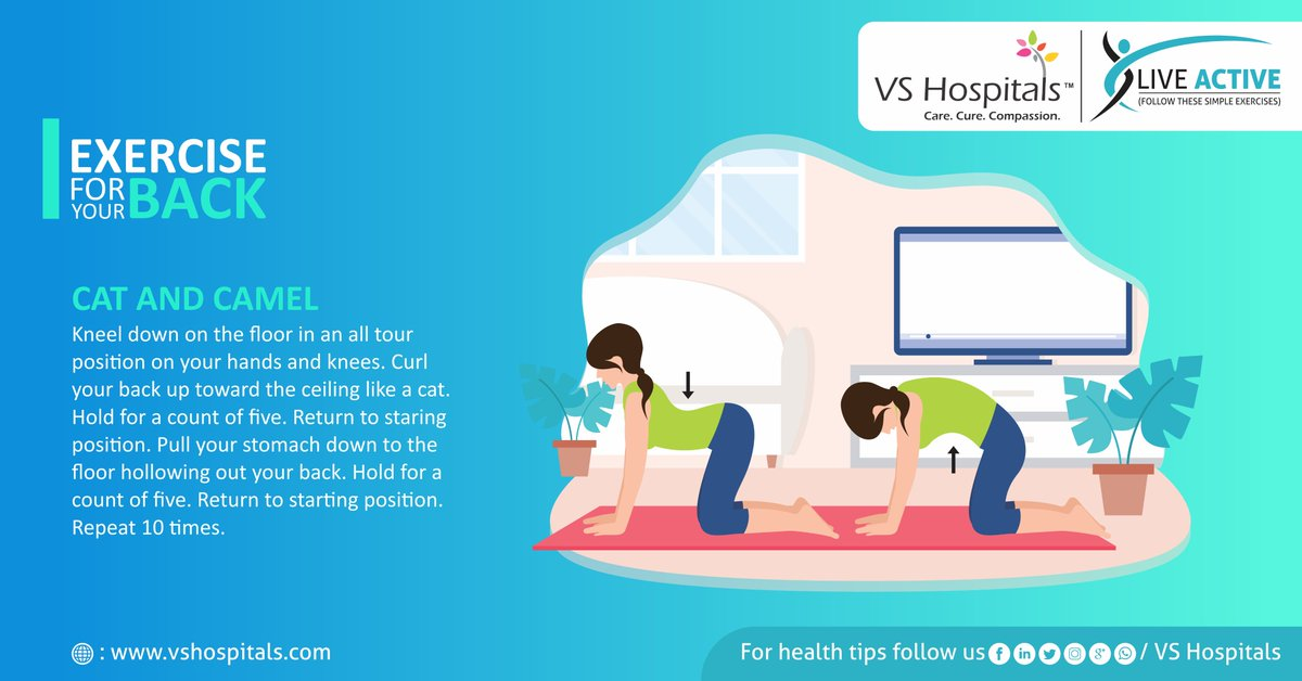 With #work schedules staring at you, there's also a steady #rise in #young #people #suffering from bad backs. Follow these simple exercises to avoid #backpain in ensuring your back is #top shape, no matter what your  #schedule  #vshospitals #liveactive #backpain #simpleexercises