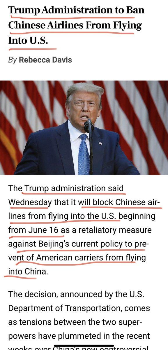 #川普 宣布:禁止中国所有航班飞往美国!6月16号开始执行  中共允许我们多少航班,多少人数飞往中国,我们就允许他们相对应数量的航班和人数飞往美国。  Reciprocal https://t.co/2slFObgeOT