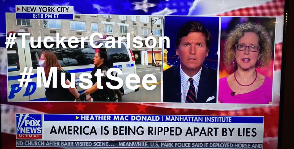 #TuckerCarlson might have the most important show ever on American television. Heather MacDonald says Western Civilization is at stake right now. That is not an overstatement. I fully agree. I was so depressed over that fact all day yesterday. #FoxNews
