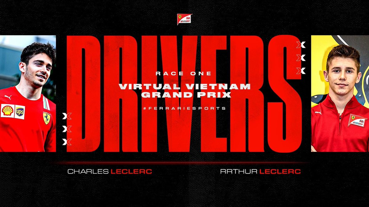 🚨 DRIVER ANNOUNCEMENT 🚨  Former and current #FDA drivers Charles Leclerc and Arthur Leclerc will be taking part in Race one of this Sunday's Vietnam #VirtualGP.  🚥 Lights out at 9pm CEST  #FerrariEsports https://t.co/5A47fVUzqA