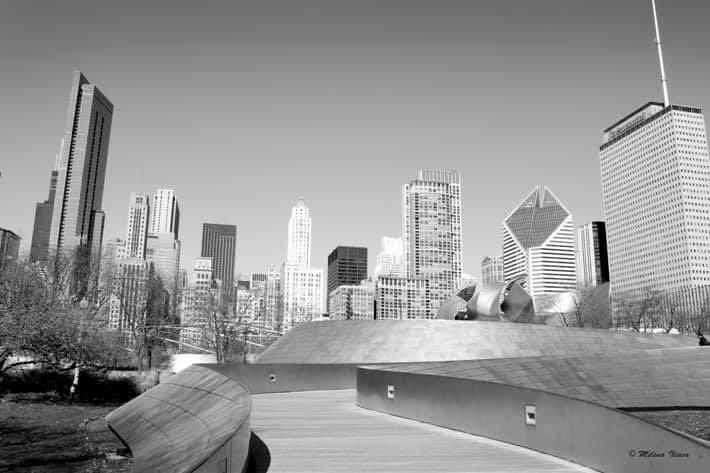 The world around us View of Downtown Chicago from BP pedestrian bridge  #cityscape #downtown #downtownchicago #chicago #lakemichigan #streetsofchicago #colorsofthecity #city #chicagoinspring #skyscrapers #blackandwhite #monochrome #canon #fineartphotography