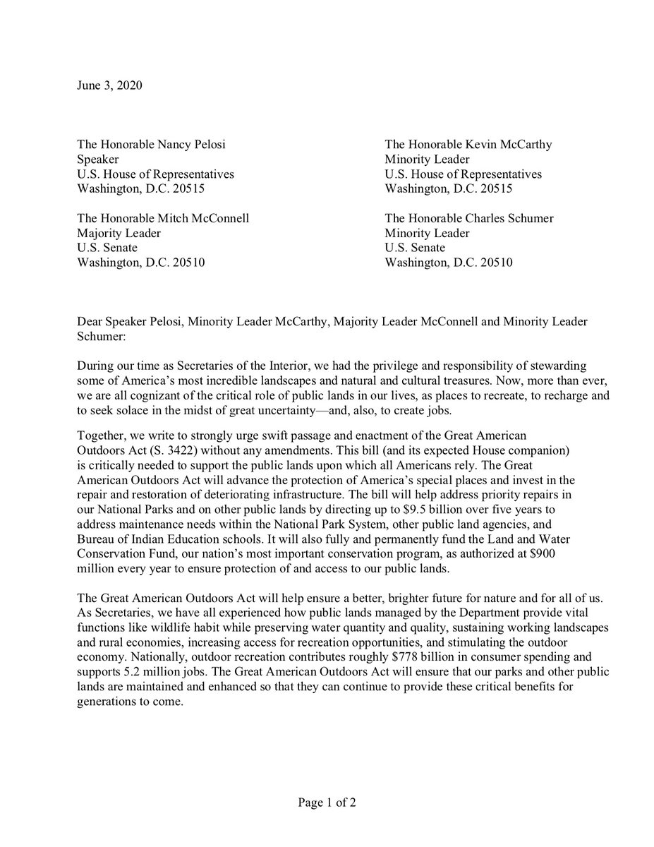 NEW ➡️ 6 bipartisan former @Interior secretaries are urging passage of my #GreatOutdoors Act. This bill will permanently #FundLWCF and #RestoreOurParks by addressing National Parks maintenance backlog, providing job opportunities for areas that have been hit hardest by #COVID19.