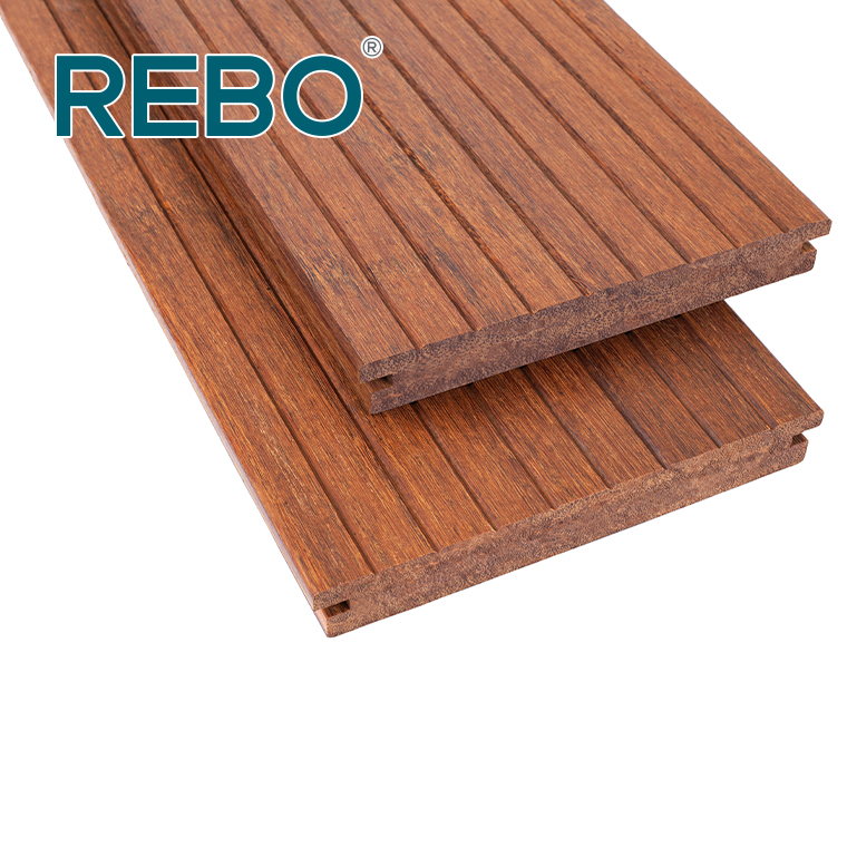 Strand woven bamboo decking MF621 medium carbonized small grooved surface length side grooved T&G head easy installation with clips #bamboo #decking #outdoor #flooring #carbonized