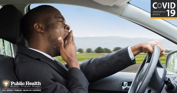 Did you know that COVID-19 or flu-like symptoms can make you feel fatigued? Driving while feeling fatigued is as dangerous as drunk driving.       #ArmyQOL #ArmyPublicHealth #FortBlissAWC #FtBlissAWC #sleep #fatigue
