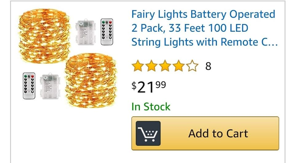 #FairyLights #BatteryOperated 2 Pack, 33 Feet 100 #LED #StringLights with #RemoteControl, #Waterproof #Fairy String #Lights #DecorativeLights for #Indoor/#Outdoor #Christmas #Halloween #Décor (Warm White) 45% off with #promocode 452OC1T2 til 6/6/20 #amazon