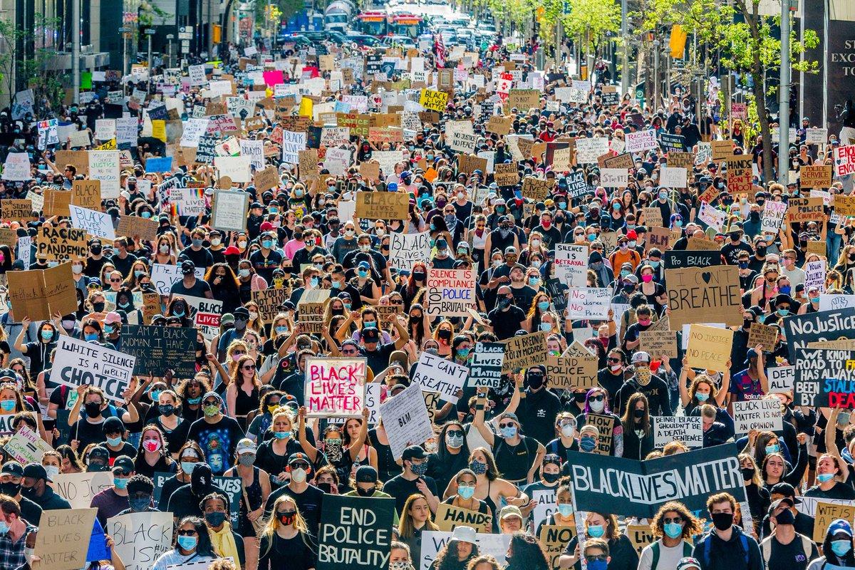 Todays #blm march in #Calgary #blacklivesmattercanada #blacklivesmatter #yyc #canada